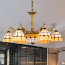 11 Lights Bedroom Chandelier Lamp Tiffany Yellow Drop Pendant with Grid Patterned Stained Glass Shade