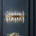 LED Living Room Wall Sconce Modern Gold Wall Light Fixture with Round/Rectangle K9 Crystal Shade