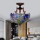 3 Lights Domed Semi Flush Mount Lighting Mediterranean Blue/Light Blue Stained Glass Ceiling Flush for Bedroom