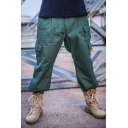 Mens Popular Solid Color Multi Pockets Wide Leg Pants Cargo Pants