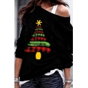 Girls' Cool Christmas Long Sleeve Drop Shoulder Christmas Tree Printed Relaxed Pullover Sweatshirt