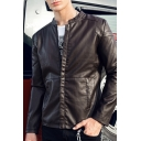 Street Fashion Solid Color Long Sleeve Zip Up Slim Fitted Faux Leather Biker Jacket