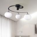 Modernist 3 Heads Semi Flush Light Black Ball Ceiling Mounted Fixture with Milk Glass Shade
