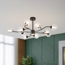 Black Spherical Hanging Chandelier Contemporary 10 Heads Clear Glass Ceiling Suspension Lamp