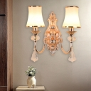 Bell Living Room Sconce Light Traditional Milk Glass 1/2 Heads Gold Wall Lighting Fixture with Dangling Crystal Accent