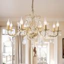 Crystal Gold Chandelier Pendant Light Curvy Arm 6/8 Lights Traditional Suspension Lighting Fixture for Bedroom