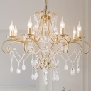 6/8 Lights Ceiling Chandelier Candlestick Crystal Hanging Pendant in Gold for Dining Room
