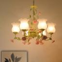 Green 6 Heads Chandelier Lighting Traditionalism Opal Glass Blossom Pendant Ceiling Light for Living Room