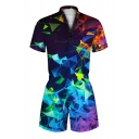 Unisex Fashion Colorful Geometric Smoke Pouring Paint 3D Pattern Short Sleeves Zipper Romper
