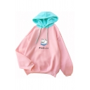 Pink Cute Milk Japanese Letter Print Long Sleeve Loose Fit Pullover Hoodie