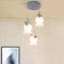 Flower Restaurant Cluster Pendant Light Countryside White Glass 3 Heads Blue Hanging Lamp