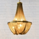 Gold Basket Chandelier Pendant Light Traditional Metal 6 Lights Bedroom Hanging Lamp Kit
