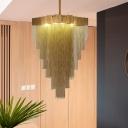 Rural Layered Chandelier 16 Lights Metallic Pendant Light Kit in Brass for Living Room