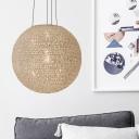 2 Lights Globe Chandelier Light Lodge White Metallic Hanging Pendant Light for Bedroom