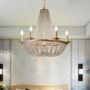 Minimalism Beaded Chandelier Lighting 6 Lights Crystal Ceiling Lamp in Gold for Bedroom