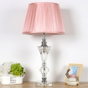 Tapered Beveled Crystal Night Lamp Traditional Single Bulb Bedroom Table Light in Pink/Blue/Beige