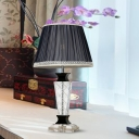 Black 1 Bulb Night Light Traditional Prismatic Optical Crystal Urn Shape Table Lamp