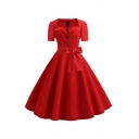 Cute Formal Women's Short Sleeve Square Neck Button Front Zip Back Bow Tie Waist Midi Pleated Swing Dress