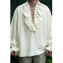 Mens Renaissance Plain Ruffles Detail Lace Up Front Bell Long Sleeve Loose Medieval Shirt