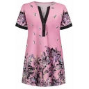 Pink Fashion Short Sleeve V-Neck Floral Pattern Button Detail Relaxed Longline T Shirt for Female
