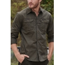 Men's Simple Style Army Green Long Sleeves Chest Pocket Button Up Military Shirt