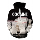 Unisex Casual Letter COCAINE 3D Print Long Sleeve Black and White Graphic Hoodie