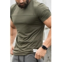 Outdoor Training Popular Color-Block Stripe Patch Short Sleeves Crewneck Fitted Tee