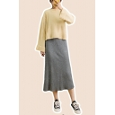 Girls Fashion Solid Color Long Sleeves Crew Neck Ribbed Knit Pullover Sweater