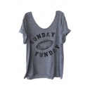 Casual Sport Women's Short Sleeve Scoop Neck Letter SUNDAY FUNDAY Rugby Print Loose Tee