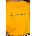 Unique Letter DAY DREAMER Printed Short Sleeves Crewneck Summer T-Shirt