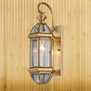 Gold Geometric Wall Lamp Traditionalist Metal 1 Light Foyer Wall Mount Lighting with Curved Arm