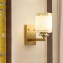 Modernist Drum Wall Light Sconce 1 Light Milky Glass Wall Mount Light in Brass for Living Room