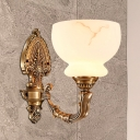 Brass 1/2-Light Wall Sconce Fixture Vintage Style Frosted Glass Bowl Shade Wall Lighting for Living Room