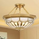 4/6 Lights Frosted Glass Semi Flush Light Traditional Gold Domed Bedroom Semi-Flush Ceiling Fixture, 18