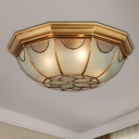 Flower Frosted Glass Flush Mount Lamp Classic 3/5 Lights Living Room Ceiling Mounted Fixture in Gold, 14