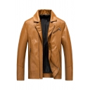 Mens Leisure Solid Color Notched Lapel Long Sleeve Zip Embellished PU Jacket