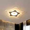 Five Star Flush Mount Lighting Simple Acrylic White LED Ceiling Fixture in Warm/White/3 Color Light, 16.5