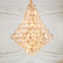 Faceted Crystal Teardrop Hanging Chandelier Modern LED 12 Lights Gold Ceiling Lamp for Dining Room