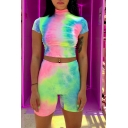 Ladies Sexy Tie-Dye Print Short Sleeve High Neck Slim Cropped T-Shirt & Shorts Casual Co-ords