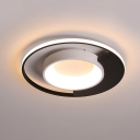 Black-White Ringed Ceiling Fixture Contemporary Acrylic LED Flush Mount Light in Warm/White Light