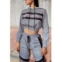 Edgy Girls Contrast Stripe Reflective Crop Hoodie & Drawstring Waist Pants Silver Co-ords