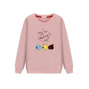 Classic Cute Women's Long Sleeve Round Neck MORE LOVE ON VALENTINE'S DAY Letter Animal Print Loose Fit Pullover Sweatshirt