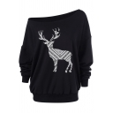 Creative Geometric Reindeer Pattern One Shoulder Long Sleeve Relaxed Fit Sweatshirt