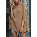 Elegant Pretty Ladies' Three-Quarter Sleeve Turtleneck Asymmetric Chunky Knit Boxy Poncho Sweater in Camel