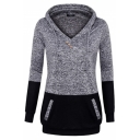 Womens Exclusive V-Neck Colorblocked Long Sleeve Drawstring Hoodie