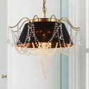 Conical Dining Room Ceiling Light Metal 4 Bulbs Modern Style Chandelier Lamp with Clear Crystal Beaded Strand Deco