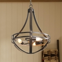 Bowl Cage Chandelier Lamp Industrial Style Metallic 3 Lights Black Suspension Lighting Fixture for Balcony