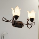 Opal Glass Floral Wall Lamp Fixture Modern Style 2/3 Lights Black Finish Vanity Sconce Light for Dining Room