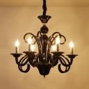 Black Bare Bulb Chandelier Pendant Light Vintage Style 6/8 Lights Metallic Hanging Lighting for Living Room