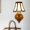 White Flared Wall Sconce Traditional Frosted Glass 1/2 Lights Wall Mounted Lamp with Curly Gold Arm